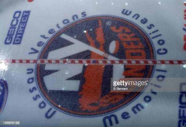 General view of the center ice logo of the New York Islanders in March 2000 at the Nassau Coliseum in Uniondale New York