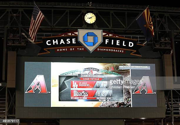 General view of the centerfield scoreboard after the Arizona Diamondbacks defeated the Los Angeles Dodgers 187 in the MLB game at Chase Field on May...