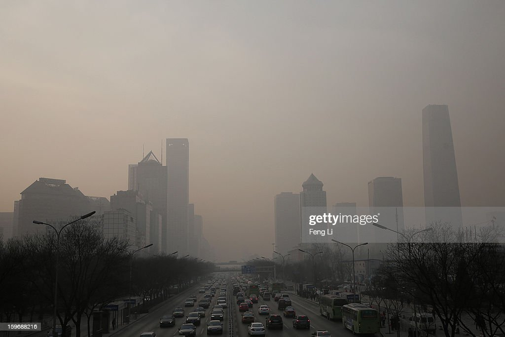 A general view of the central business district during severe pollution on January 18, 2013 in Beijing, China.