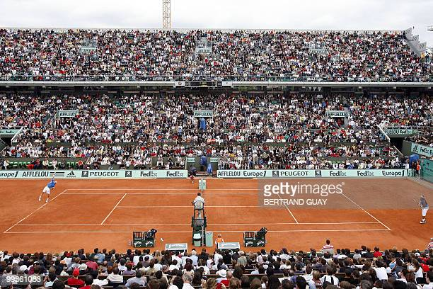 General view of the central court Philippe Chatrier taken during the Benny Berthet exhibition match between Spain's Rafael Nadal and Argentinian Juan...