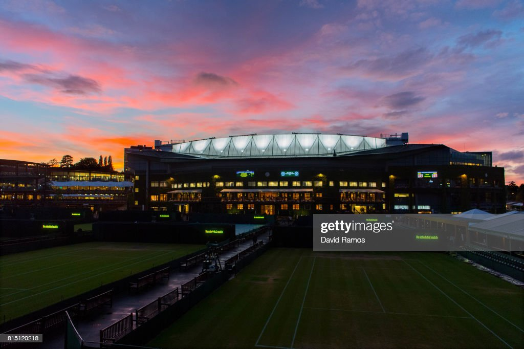 General view of the Centre Court as the sun sets on day twelve of the Wimbledon Lawn Tennis Championships at the All England Lawn Tennis and Croquet Club on July 15, 2017 in London, England.