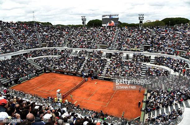 General view of the centre court taken during the ATP Tennis Open tournament at the Foro Italico on May 13 2016 in Rome / AFP / TIZIANA FABI