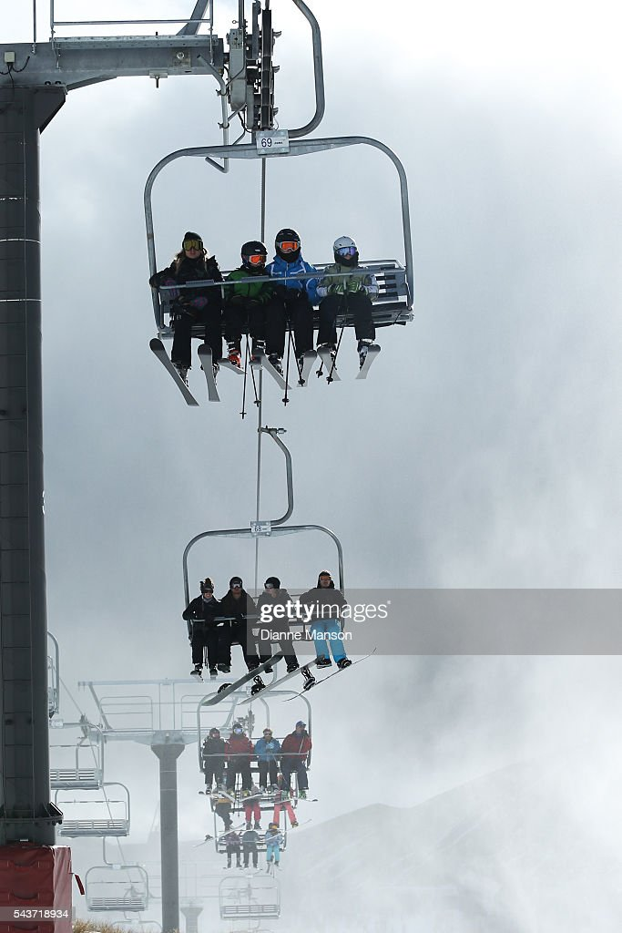 A general view of the chair lifts during the DB Export Dog Derby at the Remarkables ski field on June 30, 2016 in Queenstown, New Zealand.