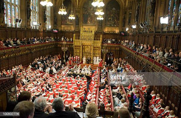 A general view of the chamber as Britain's Queen Elizabeth II addresses the House of Lords during the State Opening of Parliament in the Palace of...
