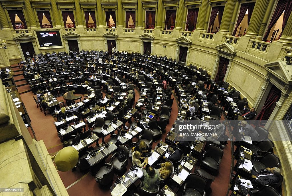 General view of the chamber of deputies in Buenos Aires on February 27, 2013, as they discuss the possibility of an agreement with Iran to establish a truth commission over a terrorist attack that took place in 1994. Eight Iranian nationals are still wanted in connection with the bombing of the Argentine Israelite Mutual Association (AMIA) that left a toll of 85 dead and 300 wounded. AFP PHOTO/Juan Mabromata