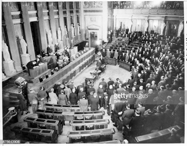 A general view of the chamber of the National Building in Vienna as new members of the 165member Austrian Parliament took the oath of office on the...