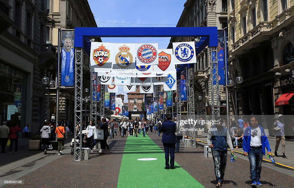 General view of the Champions Festival in Milan city centre ahead of the final at Stadio Giuseppe Meazza on May 26, 2016 in Milan, Italy.