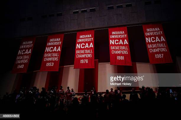 General view of the championship banners hanging at Assembly Hall before the game between the Indiana Hoosiers and Northwestern Wildcats on January...