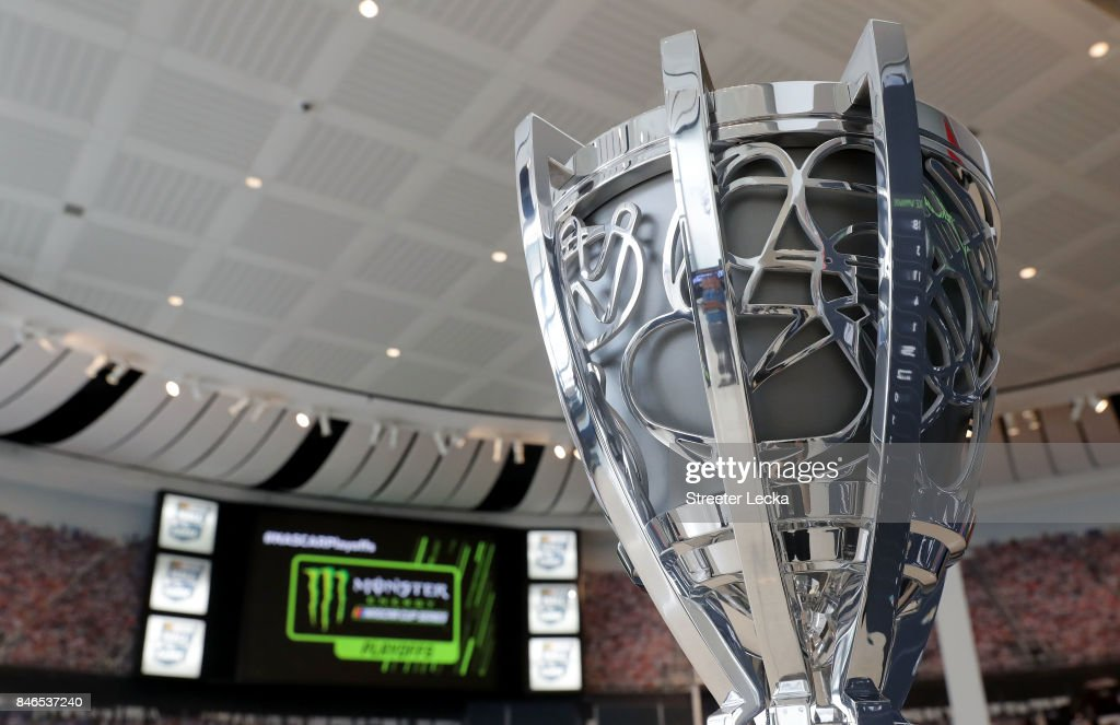 A general view of the championship trophy as the 16 drivers eligible to win the Monster Energy NASCAR Cup Series Championship speak to the media during the 2017 NASCAR Playoffs Production & Media Day at NASCAR Hall of Fame on September 13, 2017 in Charlotte, North Carolina.