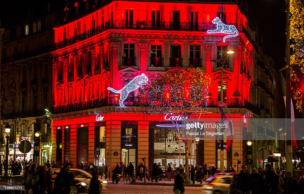 General view of the Champs Elysees Cartier boutique facade seen on November 21, 2012 in Paris, France.