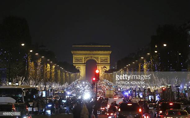 General view of the ChampsElysees avenue in Paris on November 20 on the first day of the Christmas lights AFP PHOTO / PATRICK KOVARIK