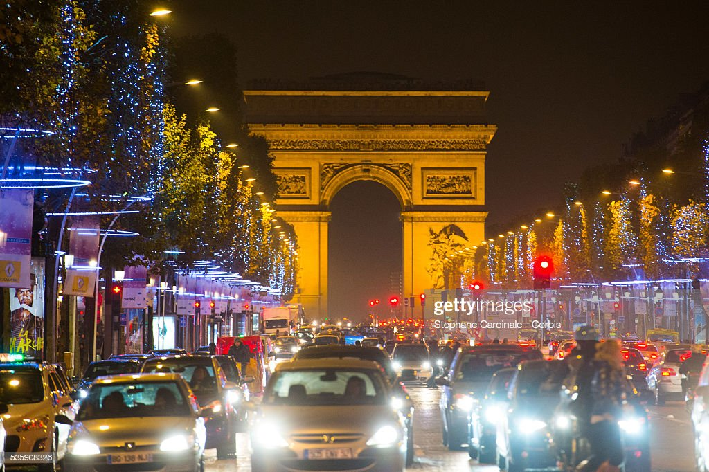 A general view of the Champs-Elysees Christmas illuminations, in Paris.