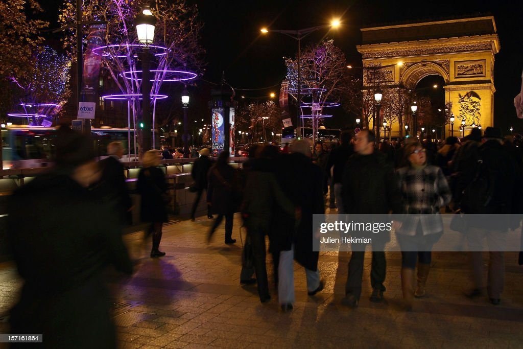 A general view of the Champs-Elysees Christmas illuminations on November 29, 2012 in Paris, France.