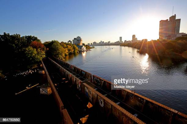 A general view of the Charles River during the Head of the Charles Regatta on October 21 2017 in Boston Massachusetts