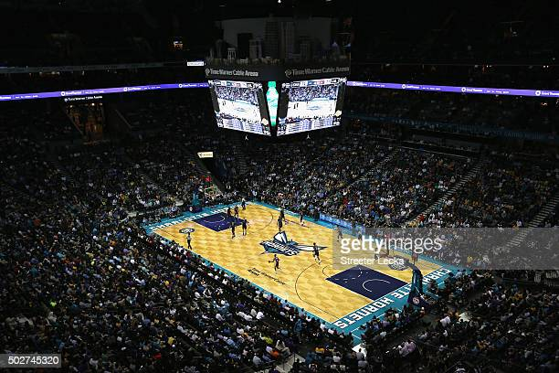 A general view of the Charlotte Hornets versus Los Angeles Lakers during their game at Time Warner Cable Arena on December 28 2015 in Charlotte North...