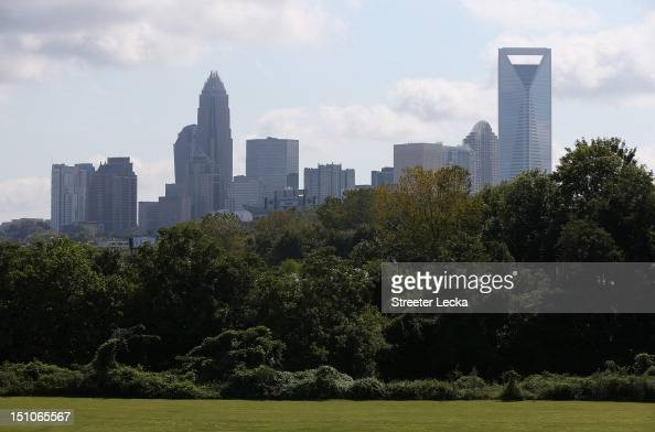 A general view of the Charlotte skyline after the Democratic National Convention Committee Unveiling Stage for the DNC at Time Warner Cable Arena on...
