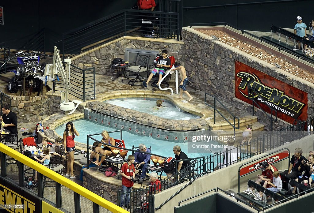General view of the Chase Field 'Ride Now' pool during the Major League Baseball game between the Washington Nationals and the Arizona Diamondbacks...