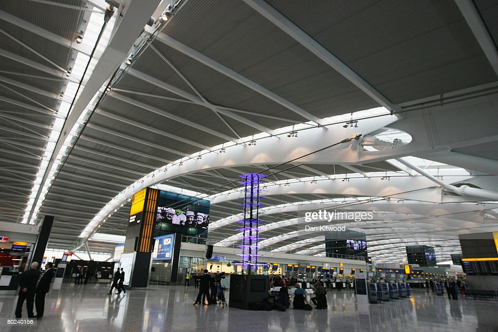 A general view of the check-in area of the new Terminal 5 at Heathrow Airport prior to its official opening on March 14, 2008 in London, England. Following yesterday's major breach of security when an environmental protestor scaled the perimeter fence onto a runway; disprupting flights at the airport, security has been tightly stepped up in advance of the official unveiling of the new terminal by Queen Elizabeth II today.