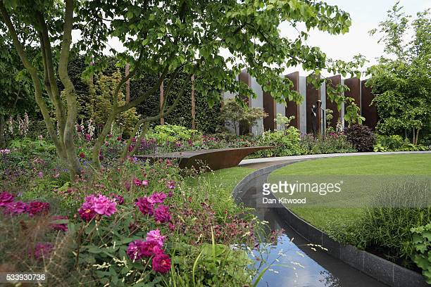 A general view of the Chelsea Barracks garden at the 2016 Chelsea Flower Show at Royal Hospital Chelsea on May 24 2016 in London England The show...