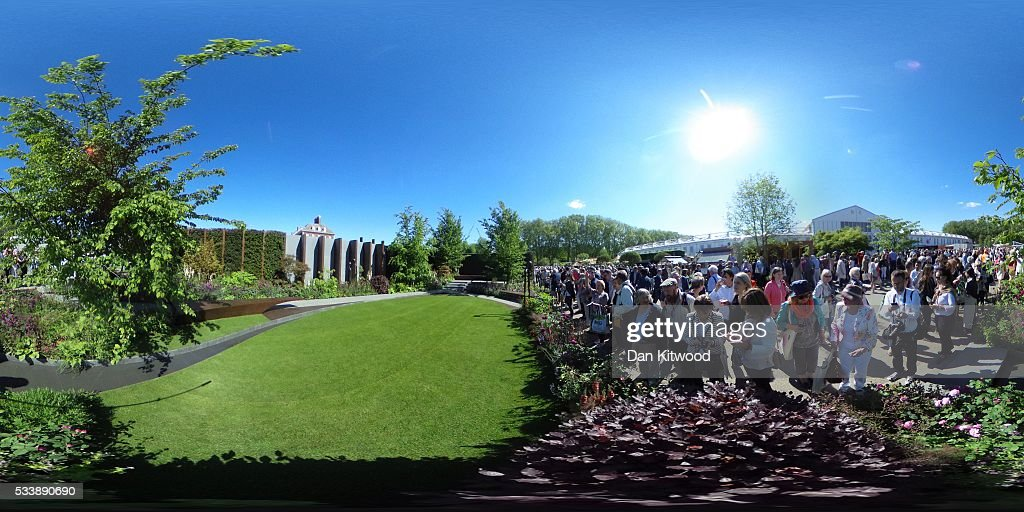 A general view of the Chelsea Barracks Garden during the Chelsea Flower Show at Royal Hospital Chelsea on May 24, 2016 in London, England. The show, which has run annually since 1913 in the grounds of the Royal Hospital Chelsea, is open to the public from 24-28 May.