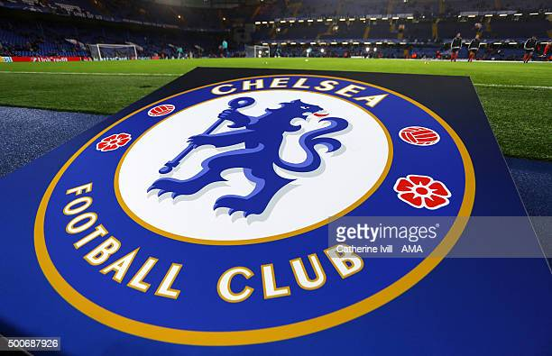 General view of The Chelsea football club badge before the UEFA Champions League match between Chelsea and FC Porto at Stamford Bridge on December 9...