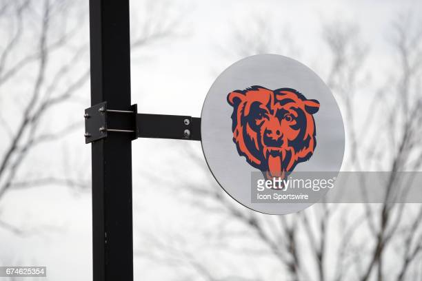 A general view of the Chicago Bears logo and Halas Hall during the Chicago Bears first round draft pick quarterback Mitchell Trubisky from North...
