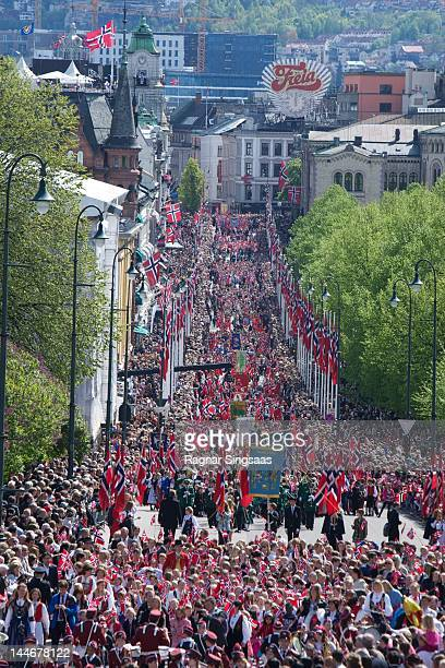 A general view of the Children's Parade during Norwegian National day on May 17 2012 in Oslo Norway