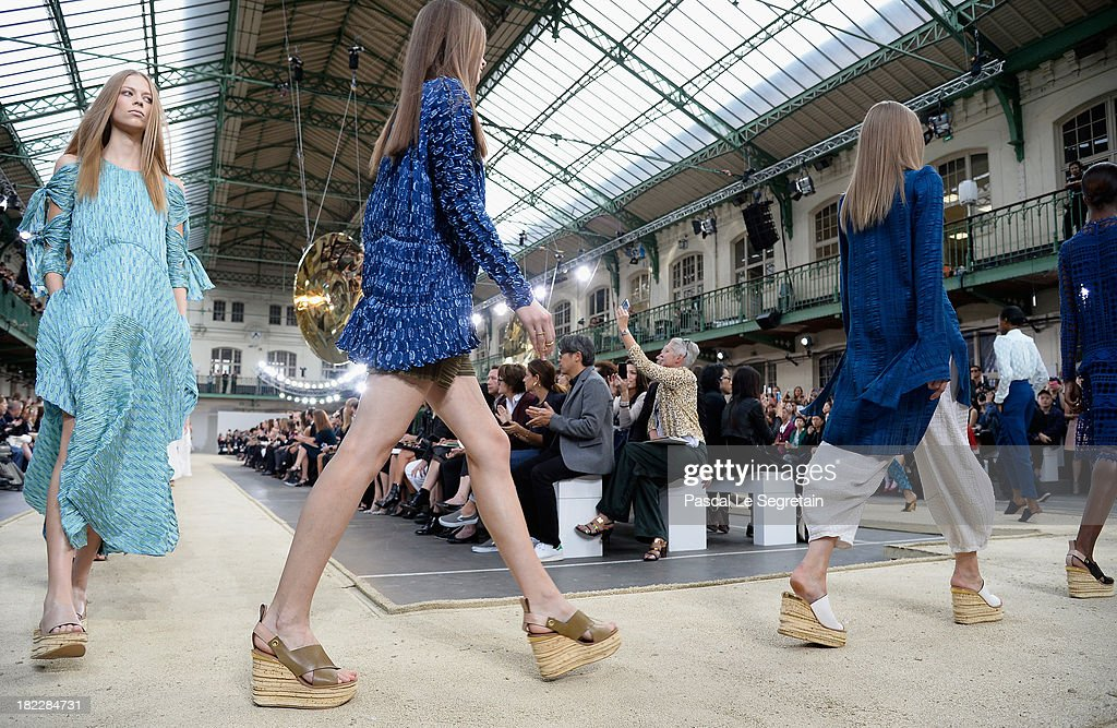 General view of the Chloe show finale as part of the Paris Fashion Week Womenswear Spring/Summer 2014 at Lycee Carnot on September 29, 2013 in Paris, France.