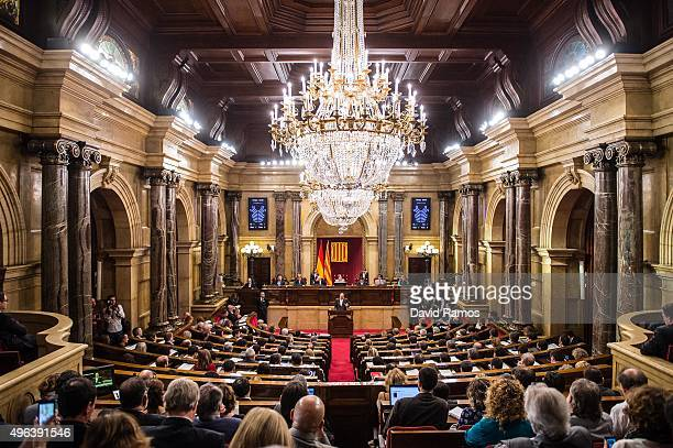 General view of the chmaber during the parliamentary session to vote the start of the independence process on November 9 2015 in Barcelona Spain The...