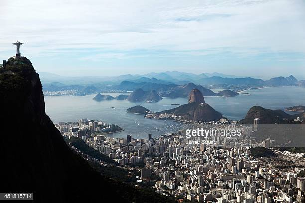 A general view of the Christ The Redeemer statue atop the Corcovado and Sugarloaf Mountain on July 7 2014 in Rio de Janeiro Brazil