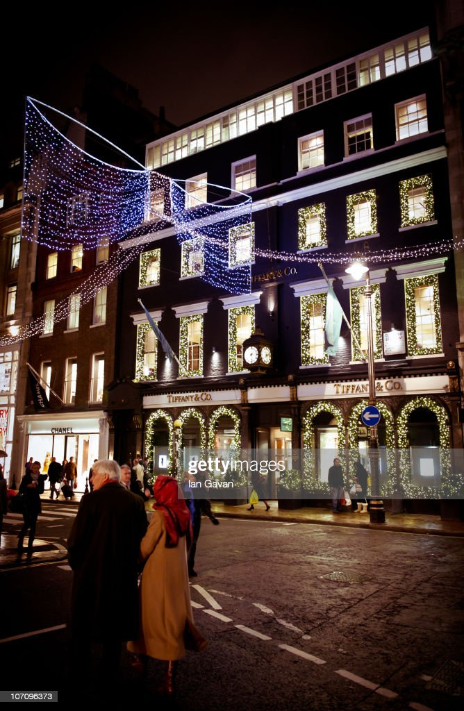 A general view of the Christmas decorations at the Tiffany and Co store on Bond Street on November 23 2010 in London England