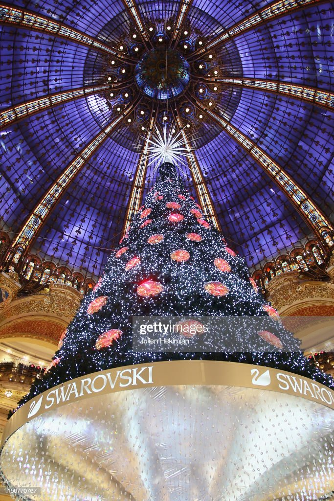 A general view of the Christmas illuminations in the Galeries Lafayette store on November 17, 2012 in Paris, France.