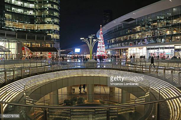A general view of the Christmas tree in piazza Gae Aulenti on December 22 2015 in Milan Italy
