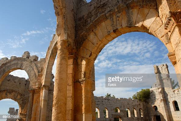 A general view of the Church Of Saint Simeon Stylites which is around 30 kilometers northwest of Aleppo Syria and was one of the oldest surviving...