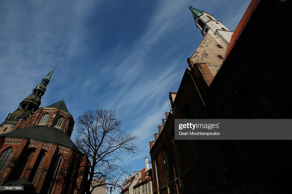 A general view of the Church of St. Peter on March 21, 2013 in Riga, Latvia.