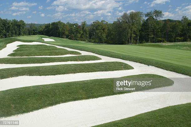 General view of the church pew bunkering on the 15th hole at Oakmont Country Club site of the 2007 US Open on September 26 2006 in Oakmont Pensylvania