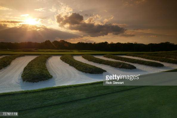 General view of the church pew bunkering on the third hole at Oakmont Country Club site of the 2007 US Open on September 26 2006 in Oakmont...