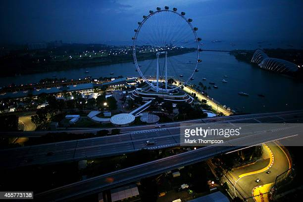 A general view of the circuit during final practice ahead of the Singapore Formula One Grand Prix at Marina Bay Street on September 20 2014 in...