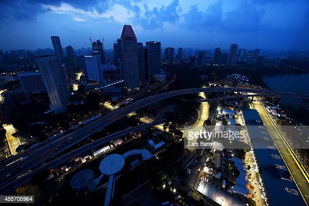 A general view of the circuit during practice ahead of the Singapore Formula One Grand Prix at Marina Bay Street Circuit on September 19 2014 in...