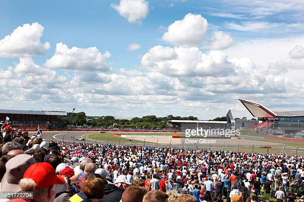 A general view of the circuit during the British Formula One Grand Prix at Silverstone Circuit on July 6 2014 in Northampton United Kingdom