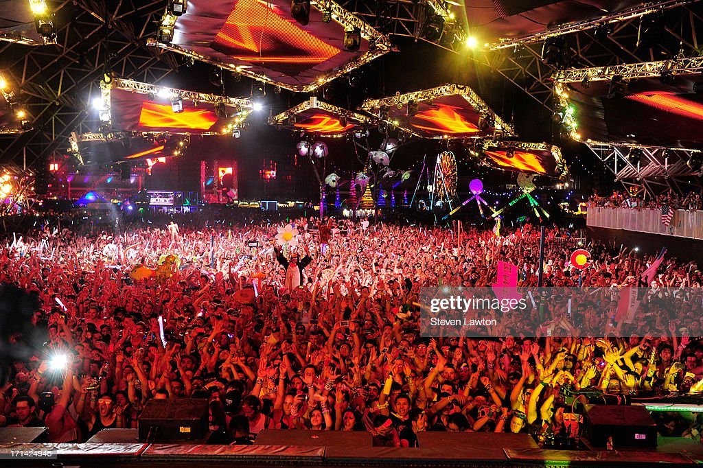 A general view of the Circuit Grounds stage as DJ/producer Laidback Luke performs at the 17th annual Electric Daisy Carnival at Las Vegas Motor Speedway on June 24, 2013 in Las Vegas, Nevada.