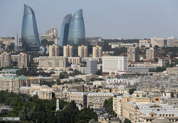 A general view of the city and Flame Towers as riders compete during the Men's Cycling Road Race on day nine of the Baku 2015 European Games at...