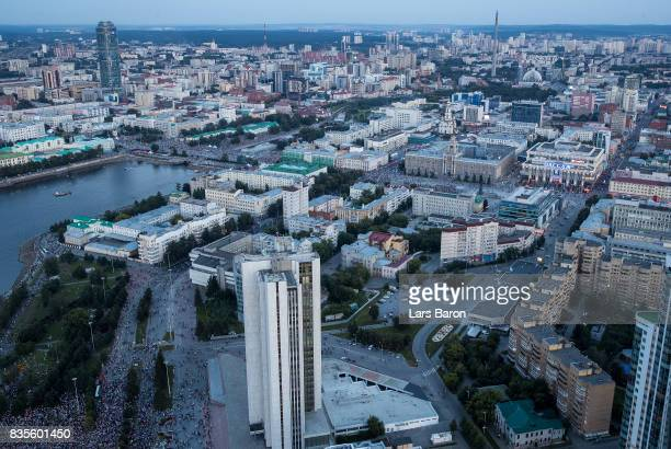 A general view of the city center on August 19 2017 in Ekaterinburg Russia
