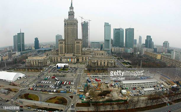 General view of the city centre on December 01 2011 in Warsaw Poland Warsaw is a popular tourist destination in eastern Europe