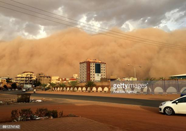 A general view of the city during the Sand storm in Khartoum Sudan on June 1 2017