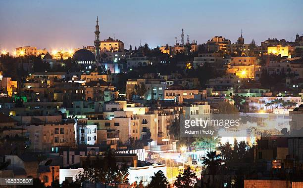 A general view of the city of Amman at night on March 26 2013 in Amman Jordan