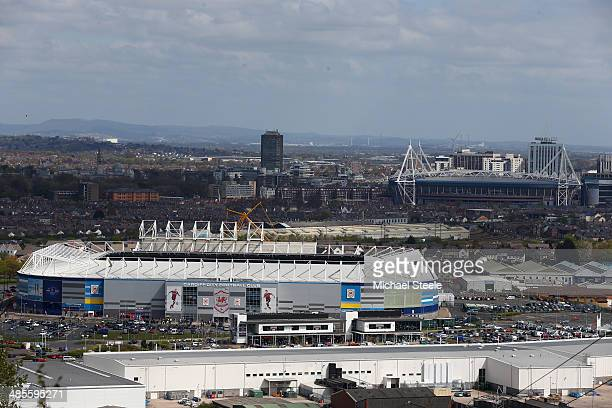 General view of the City of Cardiff stadium and Millennium stadium ahead of he Barclays Premier League match between Cardiff City and Stoke City at...