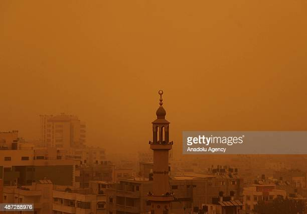 A general view of the city of Gaza's Gaza City during sand storm on September 08 2015