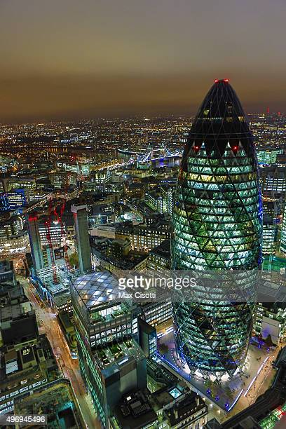 A general view of the city of London featuring the building known informally as The Gherkin on November 10 2015 in London England