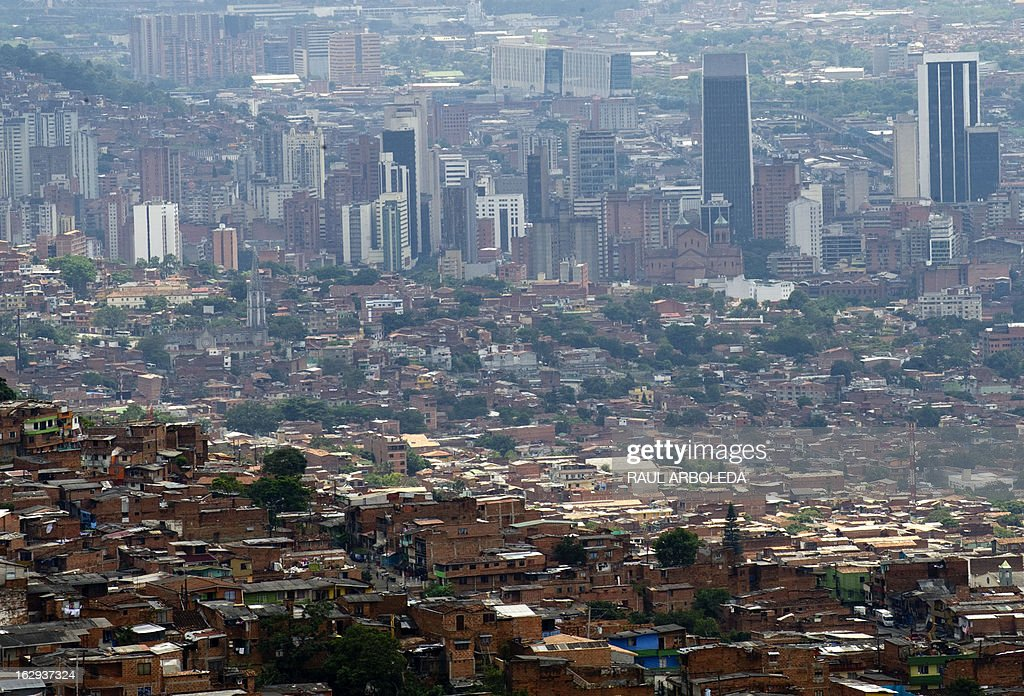 "General view of the city of Medellin, Antioquia department, Colombia, taken on March 1, 2013. Medellin, which competed with New York and Tel Aviv, was chosen by popular vote through the internet, as the ""Innovative City of the Year"" during the City of the Year contest, organized by The Wall Street Journal and Citigroup. The distinction was basically made for its modern transportation system, its public library, escalators built in a shantytown and schools that have allowed the integration of society. AFP PHOTO/Raul ARBOLEDA"